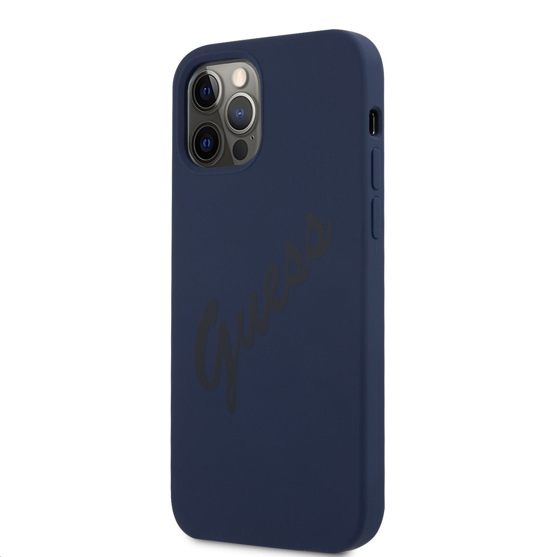 Guess Vintage silikonové pouzdro GUHCP12SLSVSBL pro Apple iPhone 12 mini, modrá