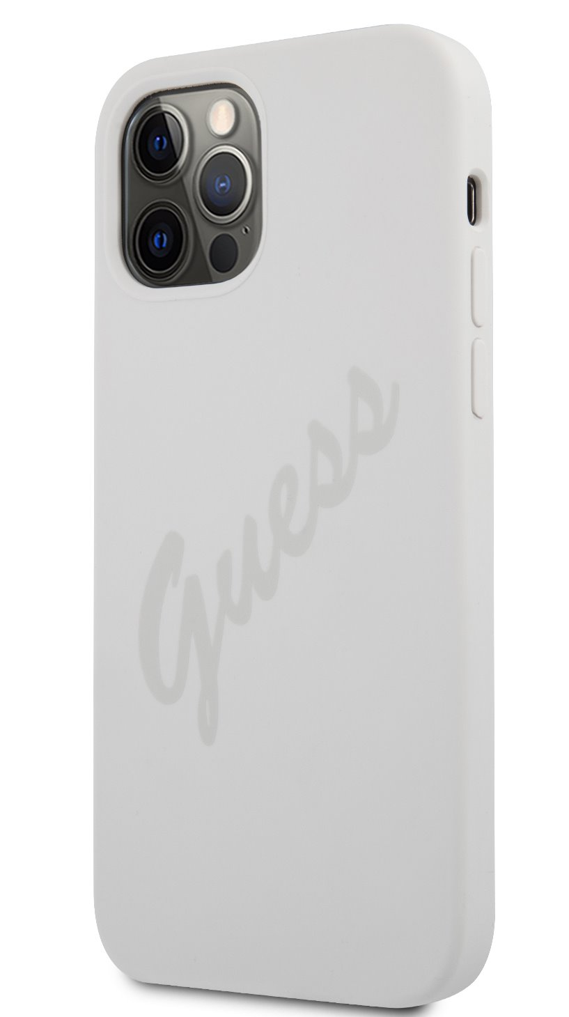 Guess Vintage silikonové pouzdro GUHCP12LLSVSCR pro Apple iPhone 12 Pro Max, krémová