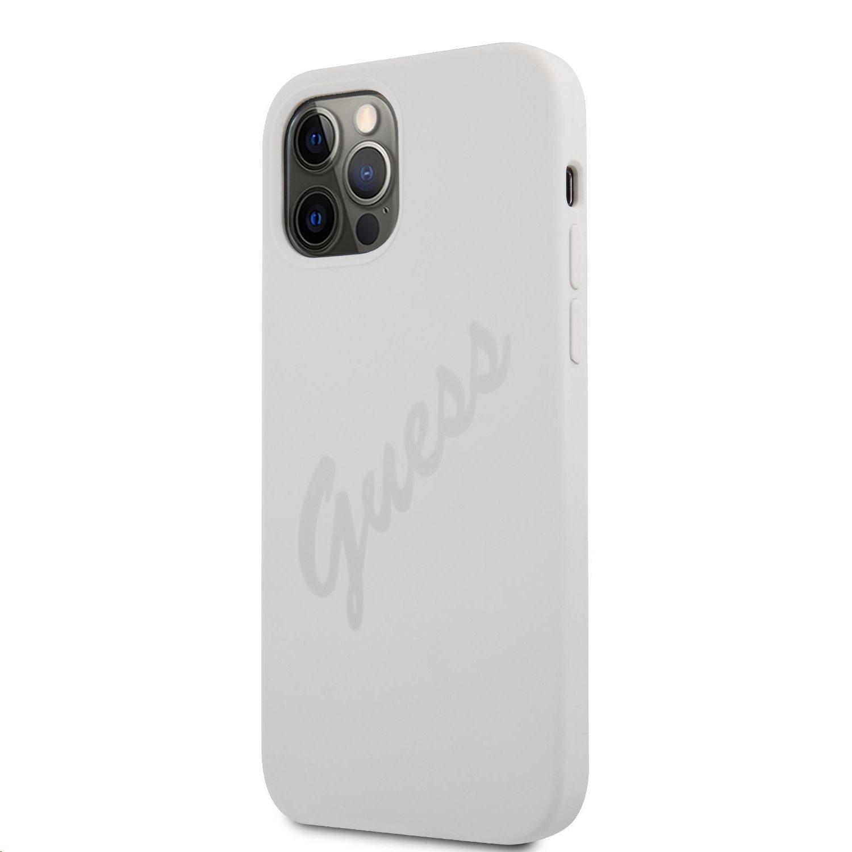 Guess Vintage Silikonové pouzdro GUHCP12MLSVSCR pro Apple iPhone 12/12 Pro, krémová