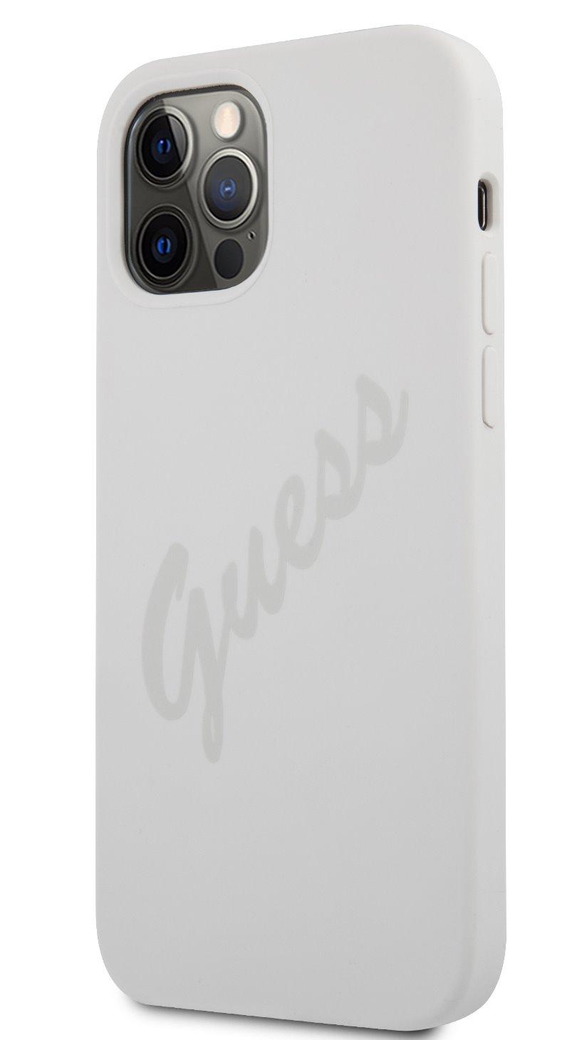 Guess Vintage silikonové pouzdro GUHCP12SLSVSCR pro Apple iPhone 12 mini, krémová