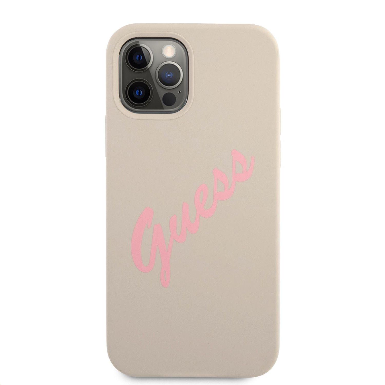 Guess Vintage silikonové pouzdro Pink Script GUHCP12SLSVSGP pro Apple iPhone 12 mini, šedá