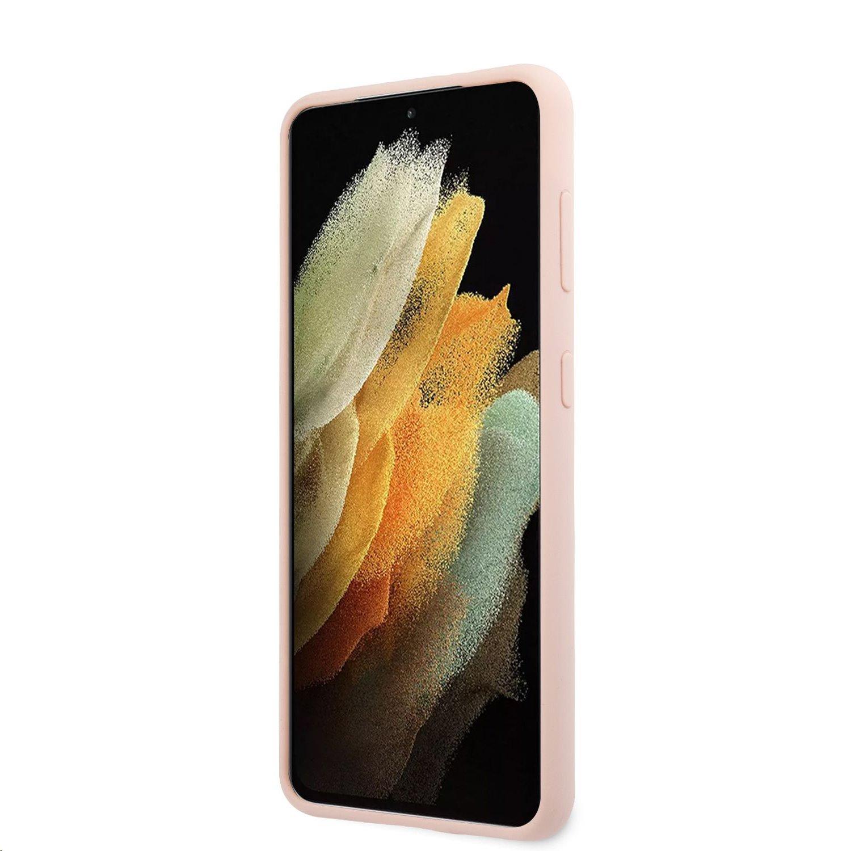 Guess Metal Logo Script silikonový kryt GUHCS21MLSLMGLP pro Samsung Galaxy S21+, růžová