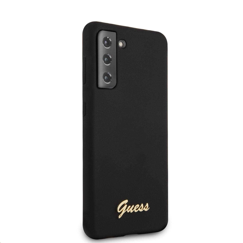 Guess Metal Logo Script silikonový kryt GUHCS21SLSLMGBK pro Samsung Galaxy S21, černá