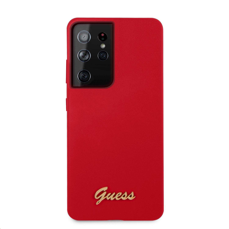 Guess Metal Logo Script silikonový kryt GUHCS21LLSLMGRE pro Samsung Galaxy S21 Ultra, červená