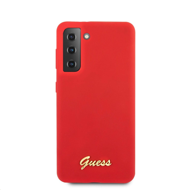 Guess Metal Logo Script silikonový kryt GUHCS21MLSLMGRE pro Samsung Galaxy S21+, červená