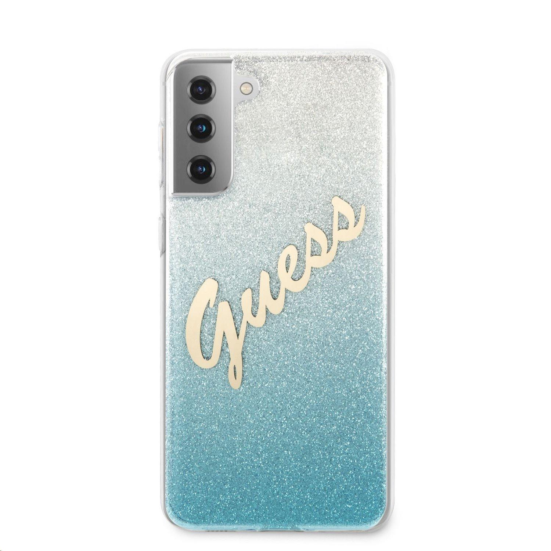 Zadní kryt Guess PC/TPU Vintage GUHCS21SPCUGLSBL pro Samsung Galaxy S21, modrá