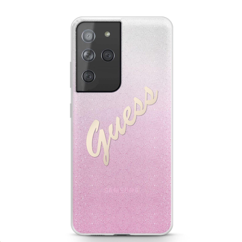 Zadní kryt Guess PC/TPU Vintage GUHCS21LPCUGLSPI pro Samsung Galaxy S21 Ultra, růžová