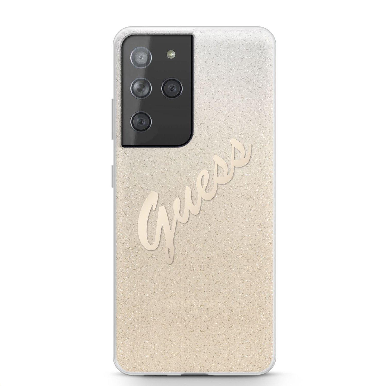 Zadní kryt Guess PC/TPU Vintage GUHCS21LPCUGLSGO pro Samsung Galaxy S21 Ultra, zlatá