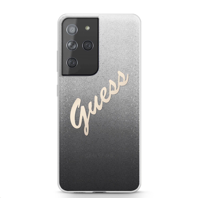 Zadní kryt Guess PC/TPU Vintage GUHCS21LPCUGLSBK pro Samsung Galaxy S21 Ultra, černá