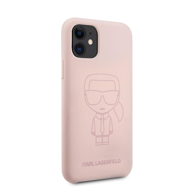 Silikonový kryt Karl Lagerfeld KLHCN61SILTTPI Iconic Outline Tone on Tone pro Apple iPhone 11, růžová
