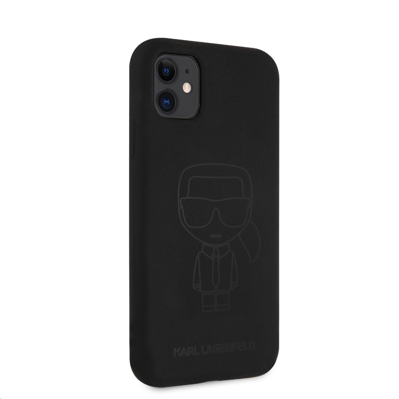 Silikonový kryt Karl Lagerfeld KLHCN61SILTTBK Iconic Outline Tone on Tone pro Apple iPhone 11, černá