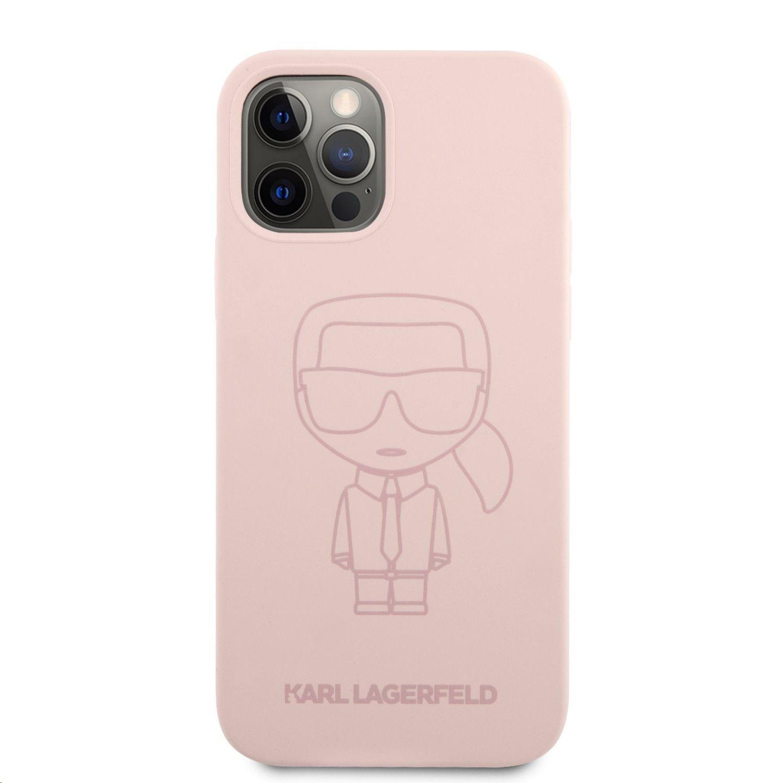 Silikonový kryt Karl Lagerfeld KLHCP12LSILTTPI Iconic Outline Tone on Tone pro Apple iPhone 12 Pro Max, růžová