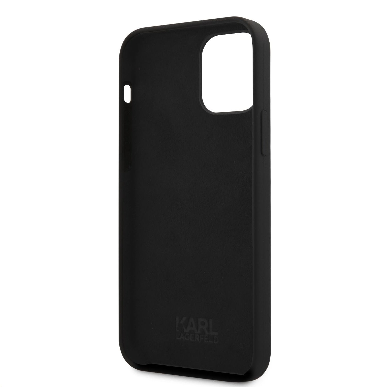 Silikonový kryt Karl Lagerfeld KLHCP12LSILTTBK Iconic Outline Tone on Tone pro Apple iPhone 12 Pro Max, černá