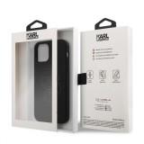 Silikonový kryt KLHCP12MSILTTBK Karl Lagerfeld Iconic Outline Tone on Tone pro Apple iPhone 12/12 Pro, černá
