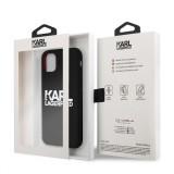 Silikonový kryt Karl Lagerfeld Stack White Logo KLHCN61SLKLRBK Apple iPhone 11, černá