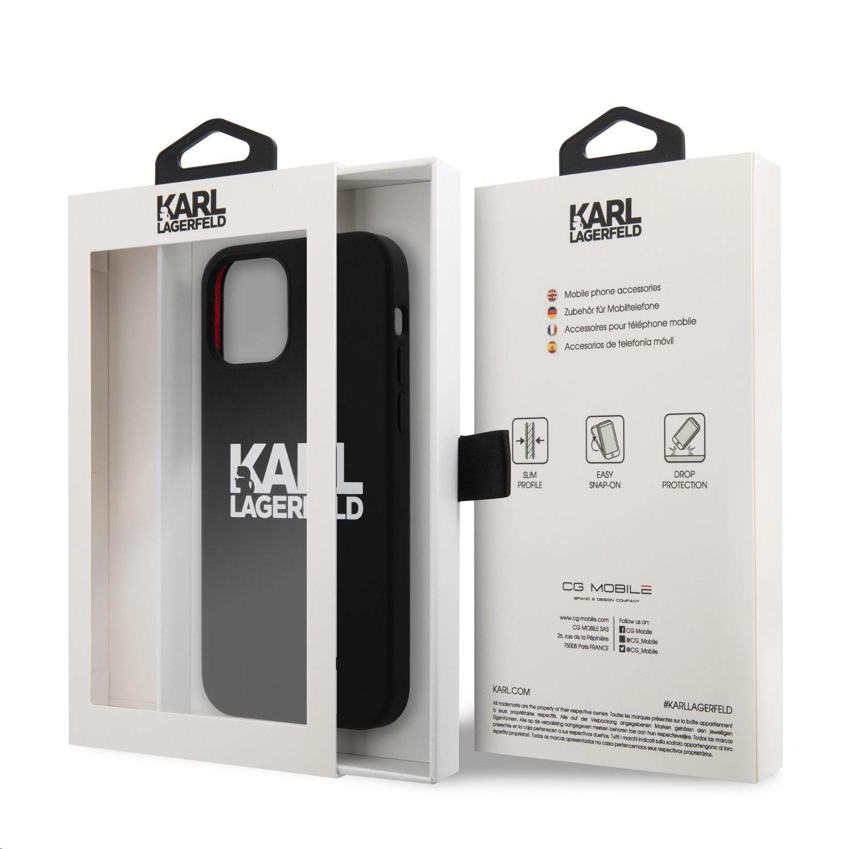 Silikonový kryt Karl Lagerfeld Stack White Logo KLHCP12LSLKLRBK pro Apple iPhone 12 Pro Max, černá