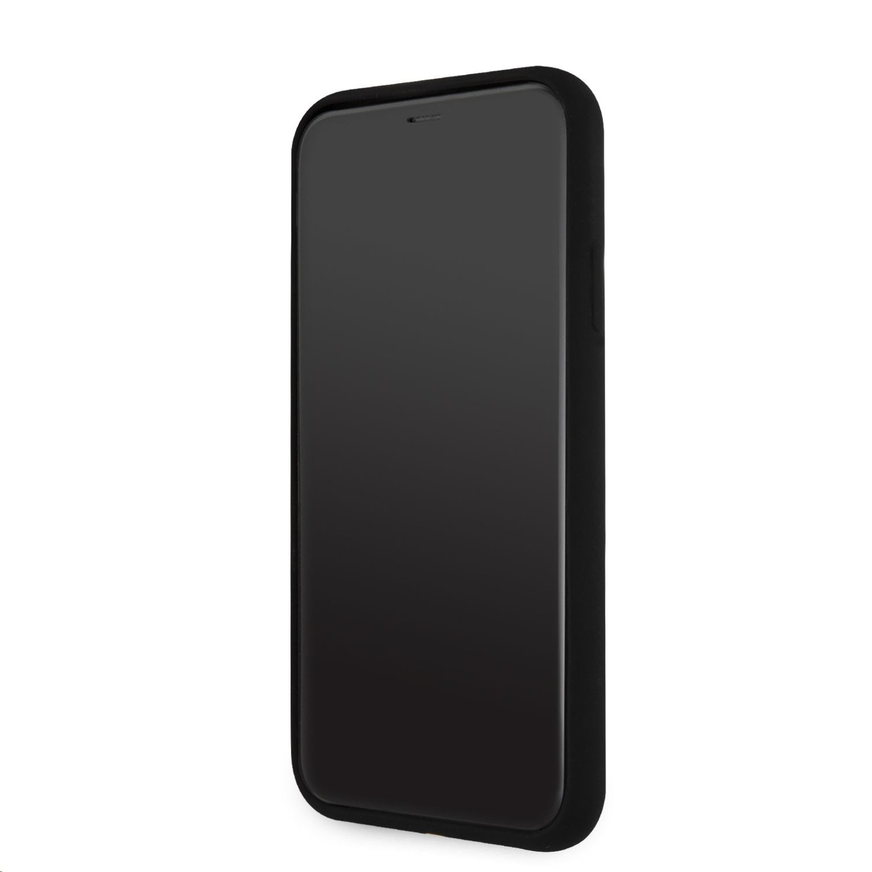 Silikonový kryt Karl Lagerfeld Stack White Logo KLHCP12SSLKLRBK pro Apple iPhone 12 mini, černá