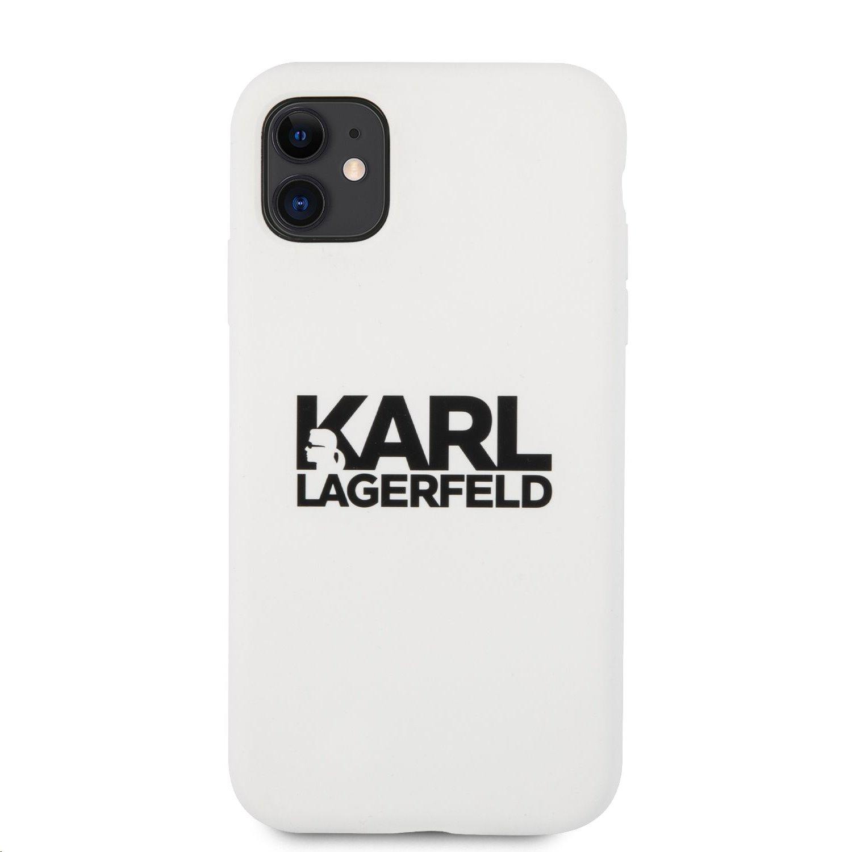 Silikonový krt Karl Lagerfeld Stack Black Logo KLHCN61SLKLWH pro Apple iPhone 11, bílá