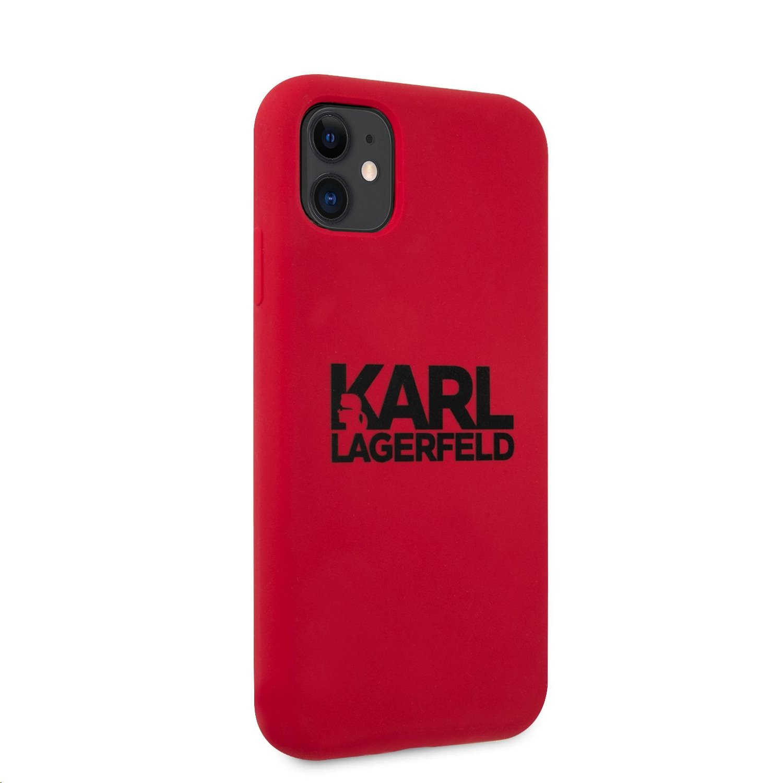 Silikonový kryt Karl Lagerfeld Stack Black Logo KLHCN61SLKLRE pro Apple iPhone 11, červená