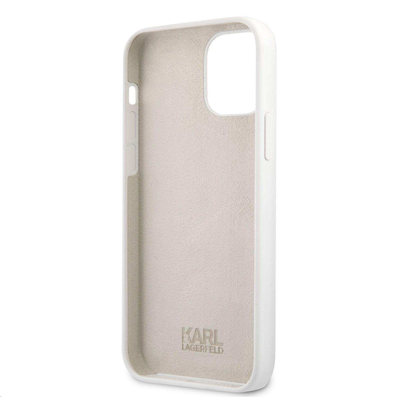 Silikonový kryt Karl Lagerfeld Stack Black Logo pro Apple iPhone 12 Pro Max, bílá