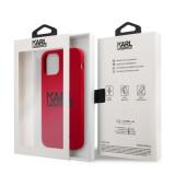 Silikonový kryt Karl Lagerfeld Stack Black Logo KLHCP12LSLKLRE pro Apple iPhone 12 Pro Max, červená