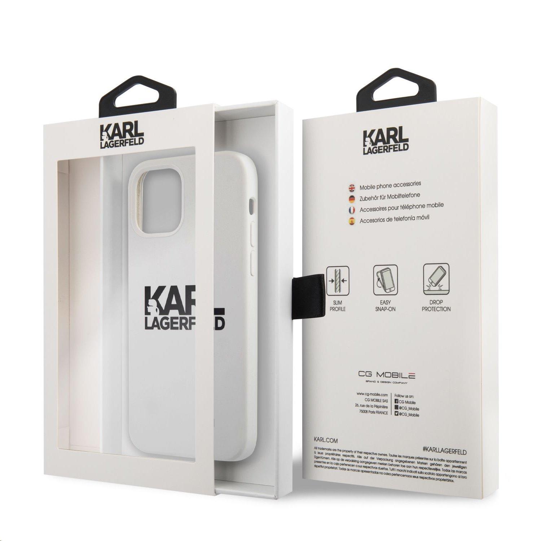 Silikonový kryt Karl Lagerfeld Stack Black Logo KLHCP12MSLKLWH pro Apple iPhone 12/12 Pro, bílá