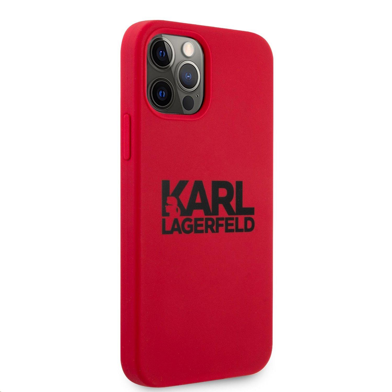 Silikonový kryt Karl Lagerfeld Stack Black Logo KLHCP12MSLKLRE pro Apple iPhone 12/12 Pro, červená