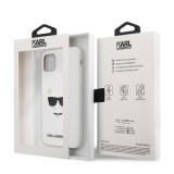 Silikonový kryt Karl Lagerfeld Choupette Head KLHCN61SLCHWH pro Apple iPhone 11, bílá