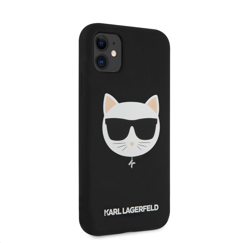 Silikonový kryt Karl Lagerfeld Choupette Head KLHCN61SLCHBK pro Apple iPhone 11, černá