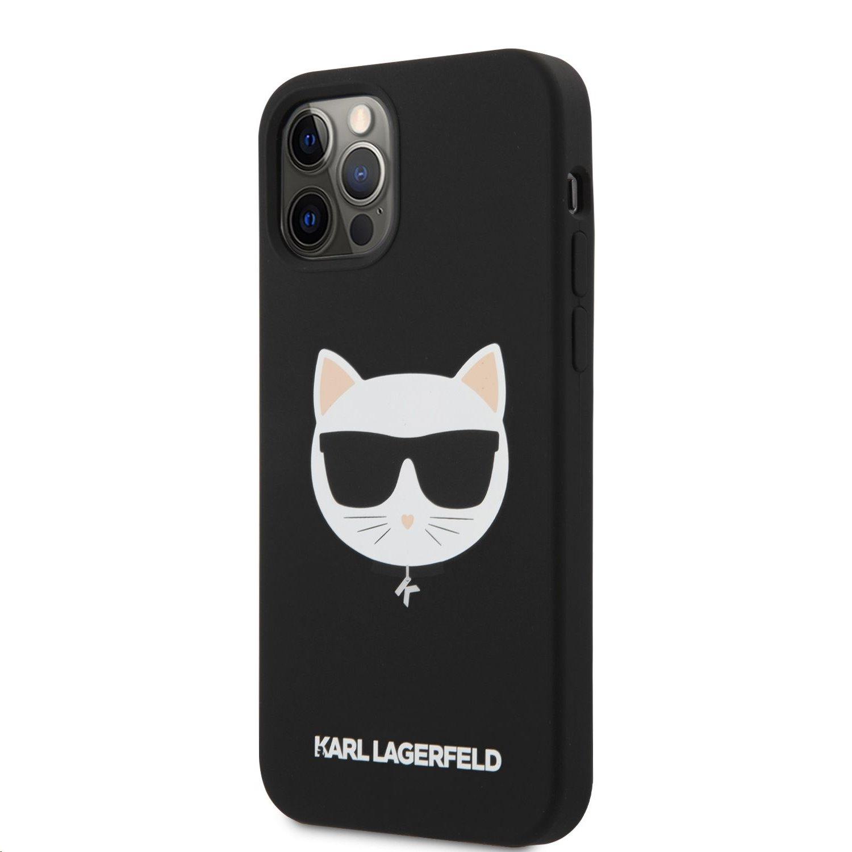Silikonový kryt Karl Lagerfeld Choupette Head KLHCP12MSLCHBK pro Apple iPhone 12/12 Pro, černá