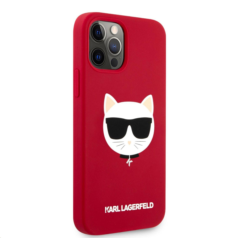 Silikonový kyt Karl Lagerfeld Choupette Head KLHCP12MSLCHRE pro Apple iPhone 12/12 Pro, čevená