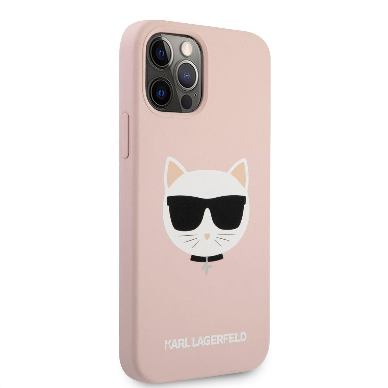 Silikonový kryt Karl Lagerfeld Choupette Head KLHCP12MSLCHLP pro Apple iPhone 12/12 Pro, růžová