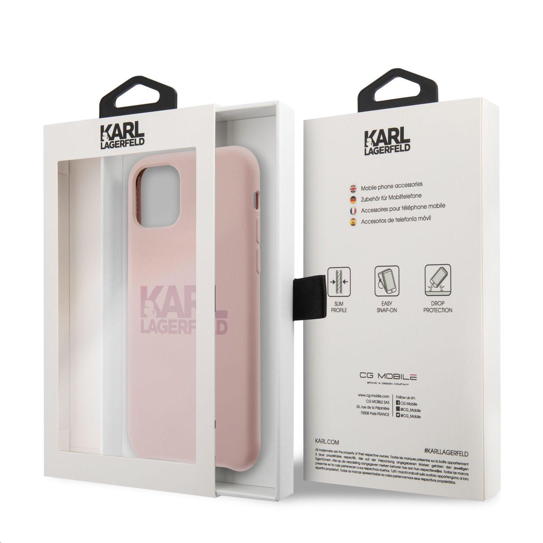 Silikonový kryt Karl Lagerfeld Stack Pink Logo KLHCN61STKLTLP pro Apple iPhone 11, růžová