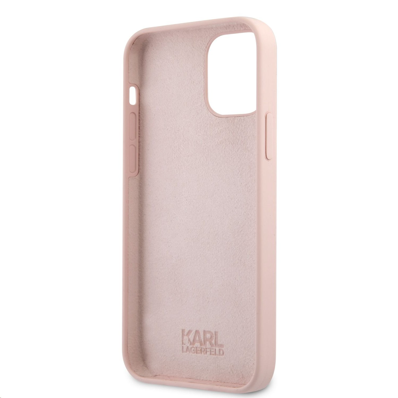 Silikonový kryt Karl Lagerfeld Stack Pink Logo KLHCP12LSTKLTLP pro Apple iPhone 12 Pro Max, růžová