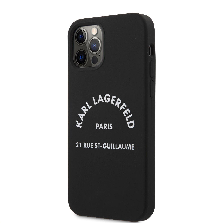 Silikonový kryt Karl Lagerfeld Rue St Guillaume KLHCP12LSLSGRBK pro Apple iPhone 12 Pro Max, černá
