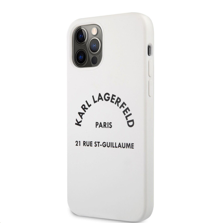 Silikonový kryt Karl Lagerfeld Rue St Guillaume KLHCP12MSLSGWH pro Apple iPhone 12/12 Pro, bílá