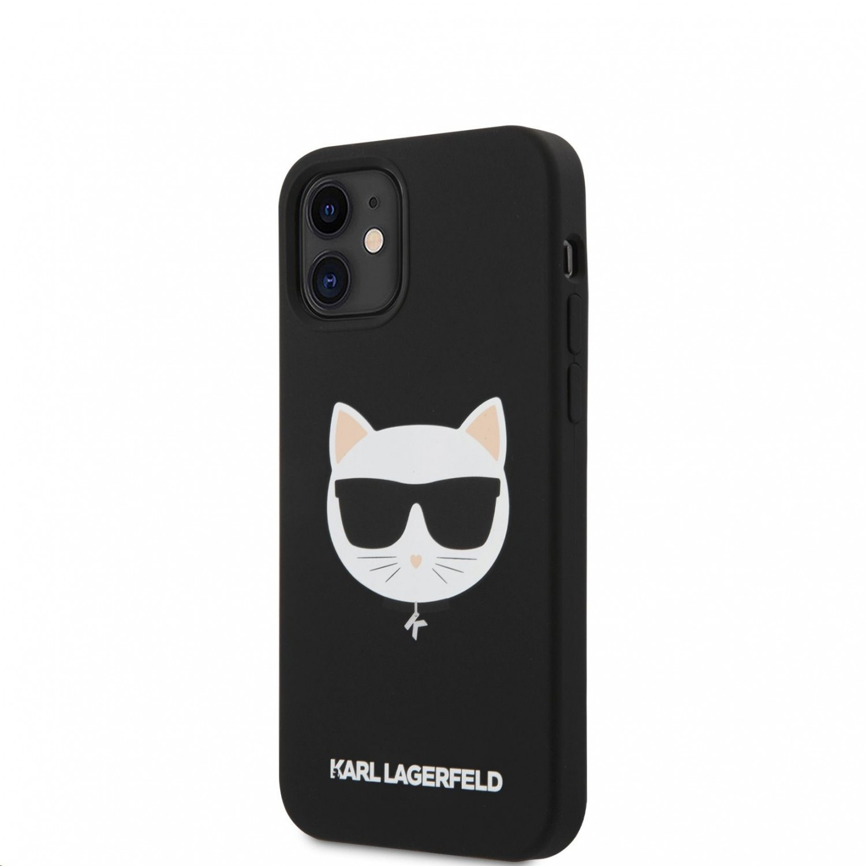 Silikonový kryt Karl LagerfeldChoupette Head KLHCP12SSLCHBK pro Apple iPhone 12 mini, černá