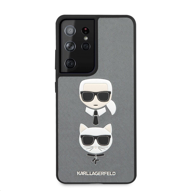 Karl Lagerfeld Saffiano K&C Heads kryt pro Samsung Galaxy S21 Ultra, stříbrná