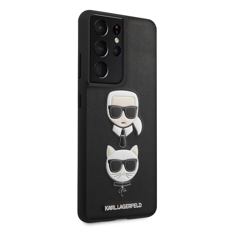 Karl Lagerfeld Saffiano K&C Heads kryt pro Samsung Galaxy S21 Ultra, černá