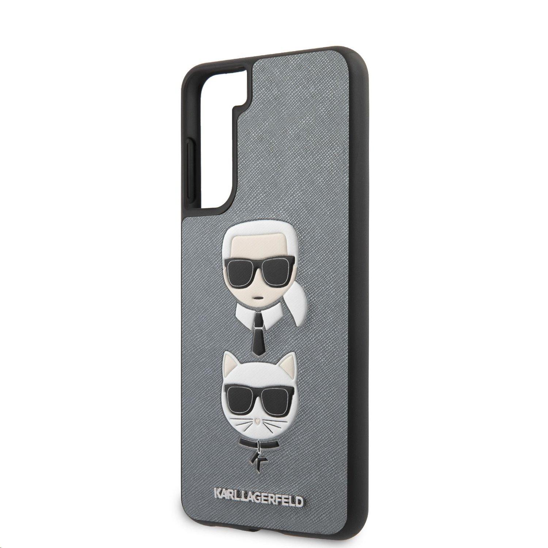 Karl Lagerfeld Saffiano K&C Heads kryt pro Samsung Galaxy S21+, stříbrná