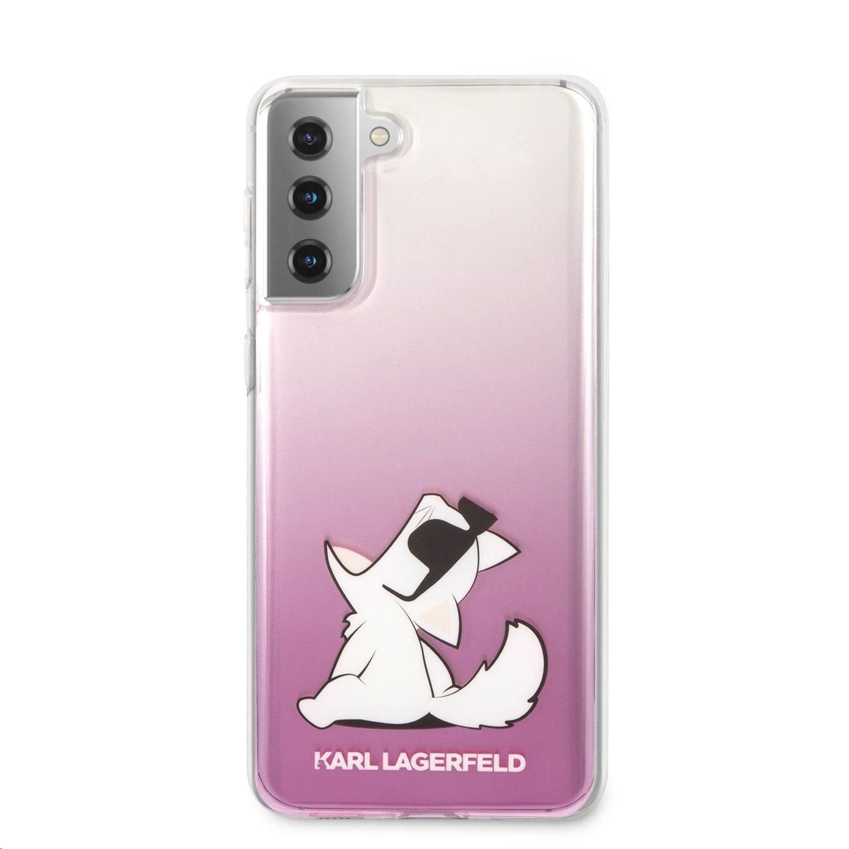 Zadní kryt Karl Lagerfeld PC/TPU Choupette Eats KLHCS21SCFNRCPI pro Samsung Galaxy S21, růžová