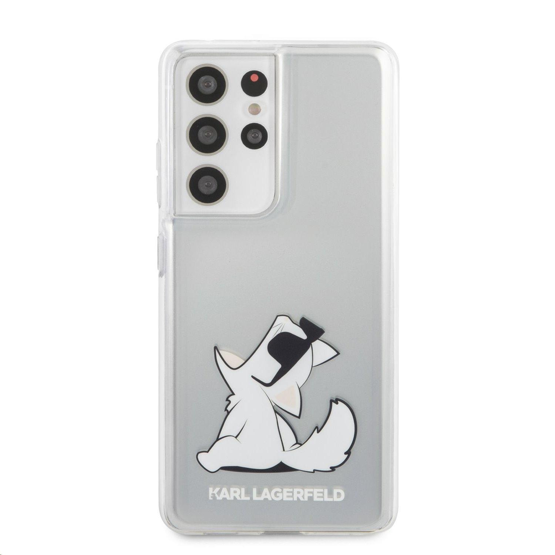 Zadní kryt Karl Lagerfeld PC/TPU Choupette Eats KLHCS21LCFNRC pro Samsung Galaxy S21 Ultra, transparent