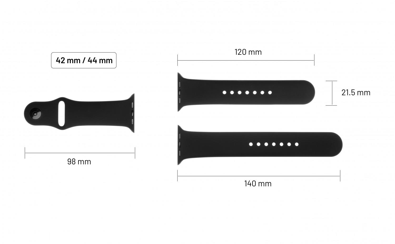 Set silikonových řemínků FIXED Silicone Strap pro Apple Watch 42 mm/44 mm, černá
