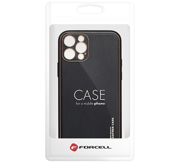 Ochranný kryt Forcella LEATHER pre Apple iPhone 13 Pro Max, čierna