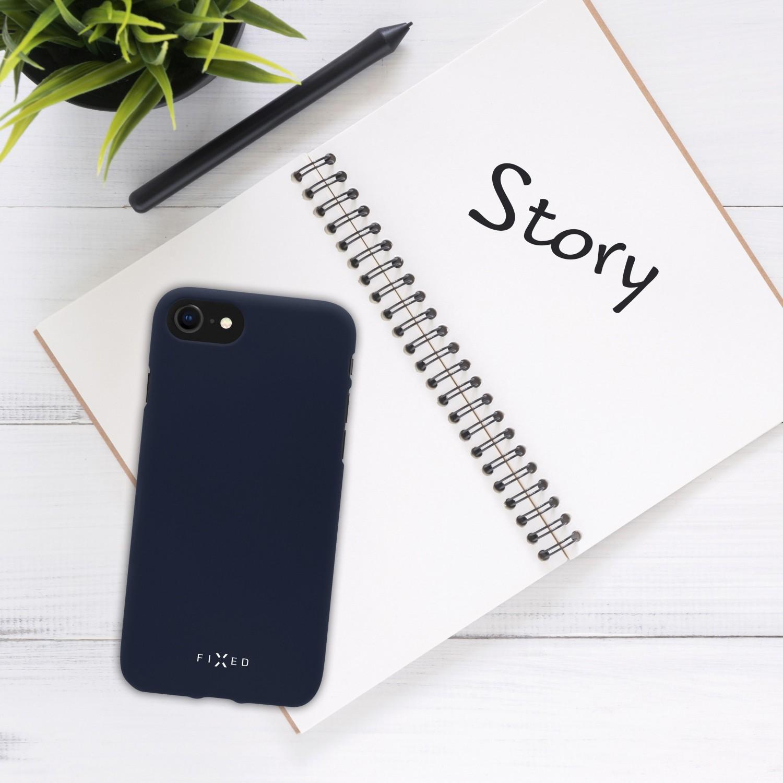 Zadní pogumovaný kryt FIXED Story pro Samsung Galaxy S21 FE, modrá