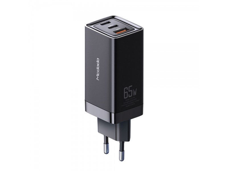 Mcdodo Gan Fast 65W Mini Charger Adapter PD Super Fast Charging Travel Laptop Black