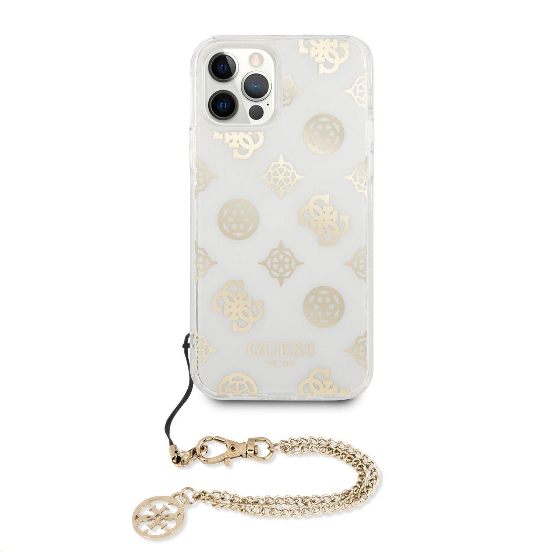 Zadní kryt Guess GUHCP12LKSPEGOPC Chain Peony pro Apple iPhone 12 Pro Max, zlatá