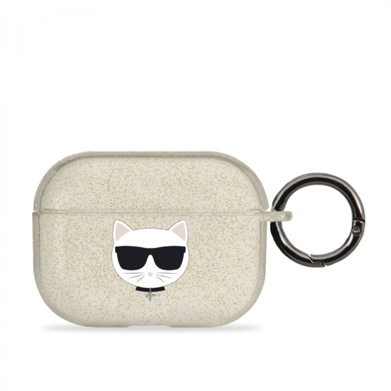 Silikonový kryt Karl Lagerfeld TPU Glitter Choupette Head KLAPUCHGD pro Airpods Pro, zlatá