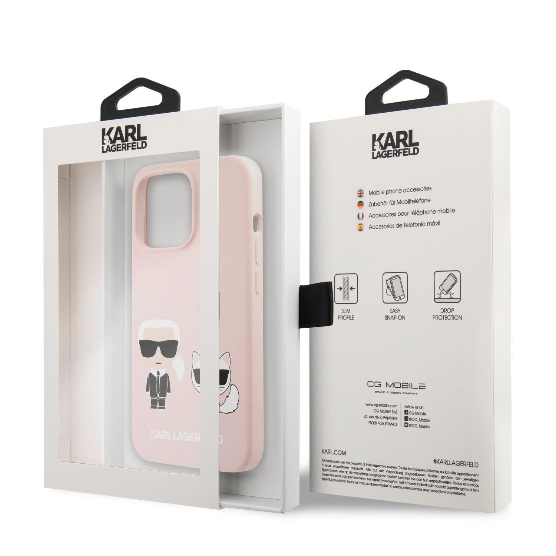 Silikonové pouzdro Karl Lagerfeld and Choupette Liquid KLHCP13LSSKCI pro Apple iPhone 13 Pro, růžová