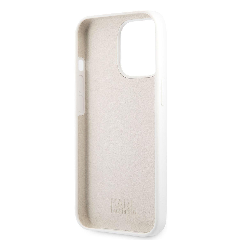 Silikonové pouzdro Karl Lagerfeld and Choupette Liquid KLHCP13LSSKCW pro Apple iPhone 13 Pro, bílá